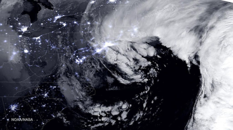 Combined day-night band and high resolution infrared imagery from the NASA-NOAA's Suomi NPP satellite 26 January 2015 nor'easter (1:45 a.m. EST). Image Credit: NASA/NOAA