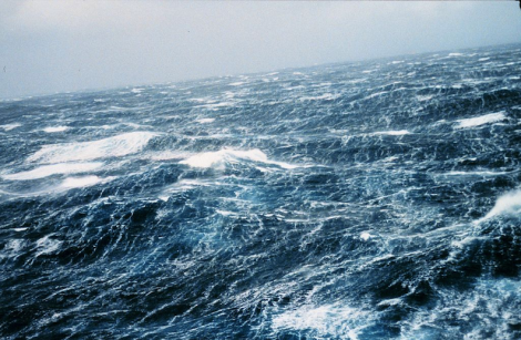 North Pacific storm waves as seen from the NOAA M/V Noble Star, Winter 1989. (Image Credit: NOAA)