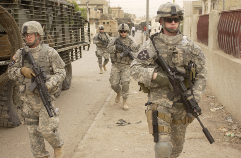 Soldiers from the 3rd Stryker Brigade Combat Team, 2nd Infantry Division patrolling Dora in Iraq, 2007. (Image Credit: Elisha Dawkins / U.S. Department of Defense)