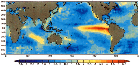 Chart of abnormal ocean surface temperatures [ºC] observed in December 1997 during the last strong El Niño. (Image: NOAA)