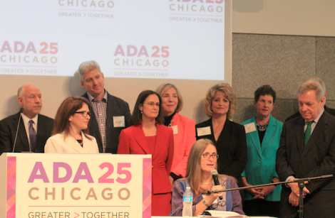 Marca Bristo, President and CEO, Access Living, speaking at the ADA 25 Chicago Launch Event: Greater > Together. April 17, 2015. (Image Credit: Daniel X. O'Neil / Flickr)